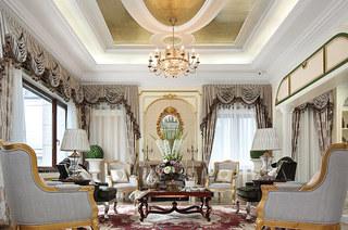 欧式古典风格样板房客厅装修