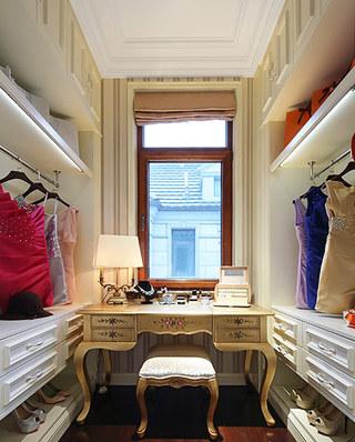 欧式古典风格样板房步入式衣帽间