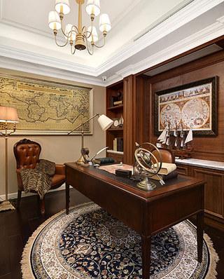 欧式古典风格样板房书房效果图片