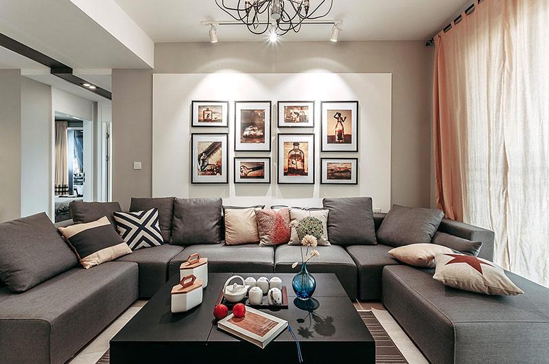 129平简约风格三居客厅装修图