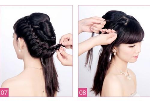 新娘发型图解教程介绍8:将右侧的同样拿起三小股(刘海不能一起编图片