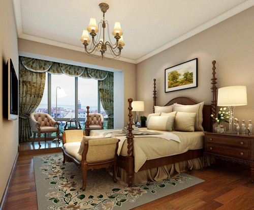 床头柜的美式复古灯更能突出美式风格,显得很是有味道,大大的落地窗图片