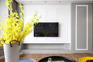 117平混搭风格三居电视背景墙装修