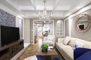 139平法式风格四居客厅吊灯效果图