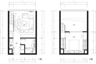 24平单身公寓装修平面布置图
