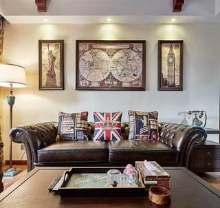 美式乡村两居室背景墙效果图