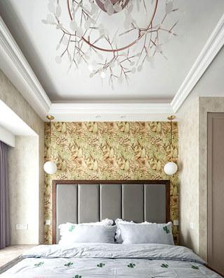 90平北欧风格二居卧室壁纸图片