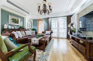 178平美式风格四居客厅效果图