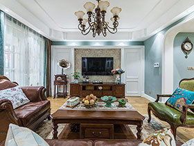 178平美式风格四房装修效果图 漫步复古家