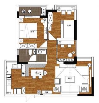 105㎡美式三居室结构图