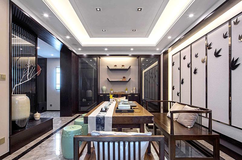 400平新中式风格别墅茶室装修图