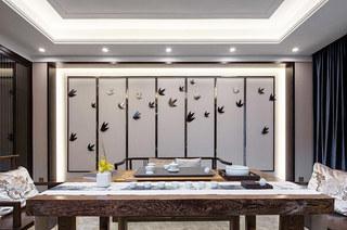 400平新中式风格别墅背景墙装修
