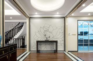 400平新中式风格别墅玄关装修图