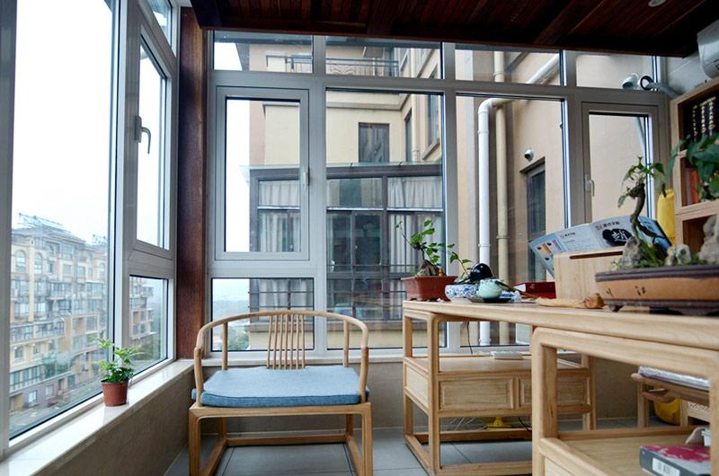220平新中式风格四居阳台书房图片