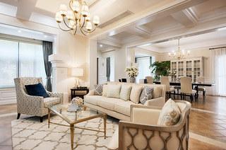260平美式复式楼客厅效果图