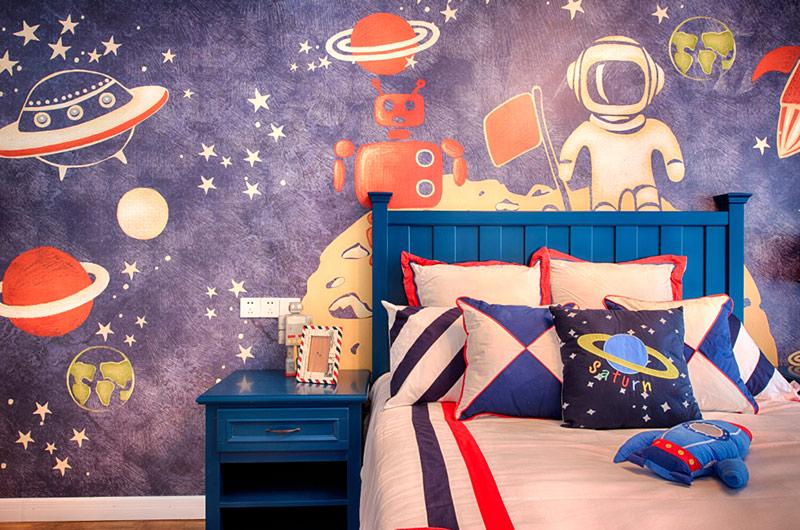 260平美式复式楼卧室壁纸图片