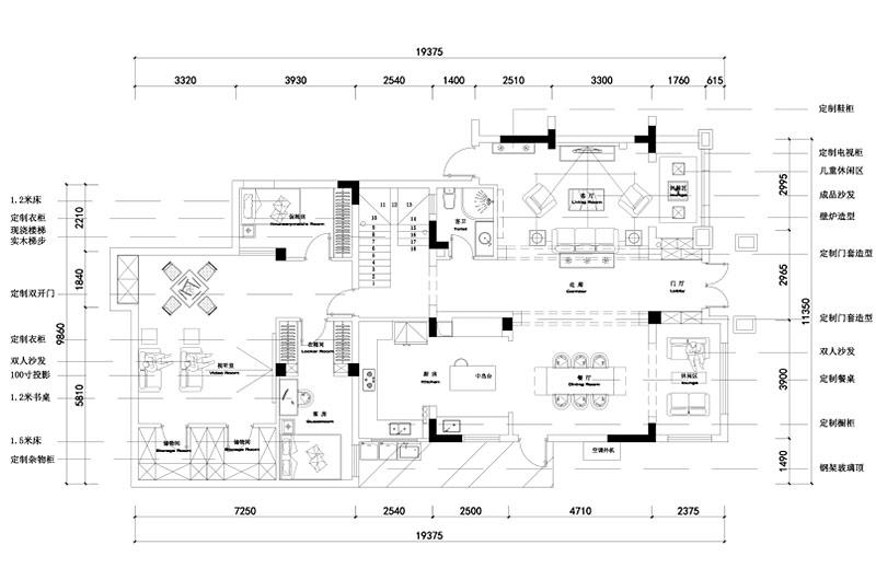 260平美式复式楼一楼平面图
