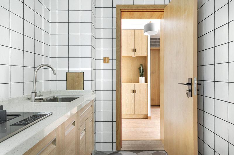 52平一室一厅装修厨房瓷砖设计