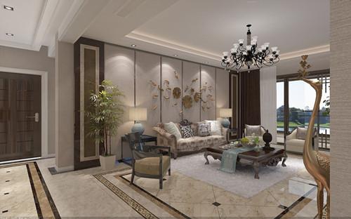 新中式客厅效果图 170平新中式风格客厅装修30万打造