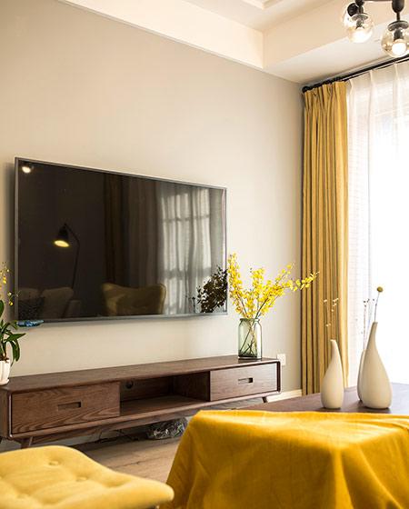80平北欧风格三居电视柜图片