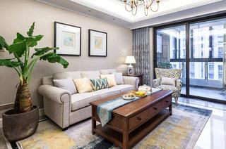89平美式风格三居布艺沙发设计