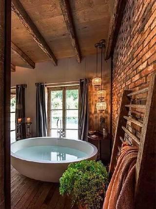 复古风浴室布置图片