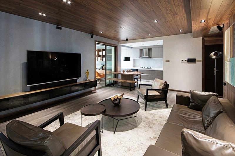 130平简约风格公寓茶几地毯效果图