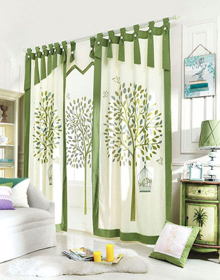 客厅卧室布帘隔断装修设计