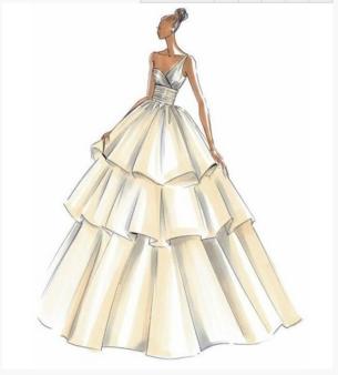 手绘婚纱礼服设计图大全 婚纱手绘设计图的画法