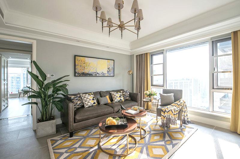 135平混搭公寓茶几地毯效果图