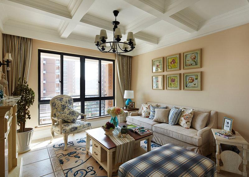 15-20万120平米美式三居室装修效果图,美式风格装修图图片