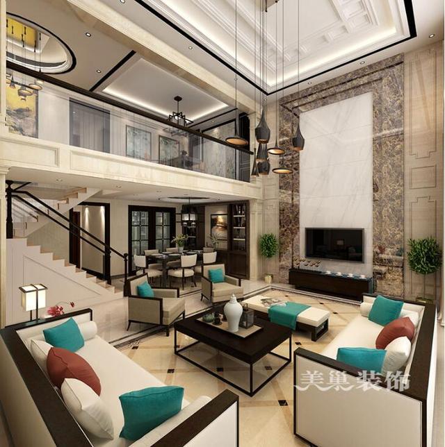 普罗旺世龙之梦260平别墅装修新中式效果图——二楼休闲区图片
