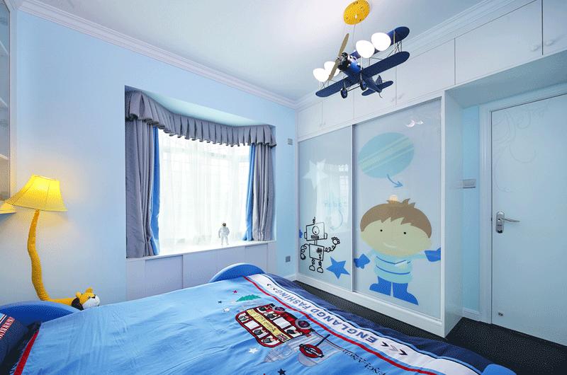 90平简约风格婚房装修儿童房图片