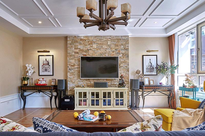 130平美式风格公寓电视背景墙装修