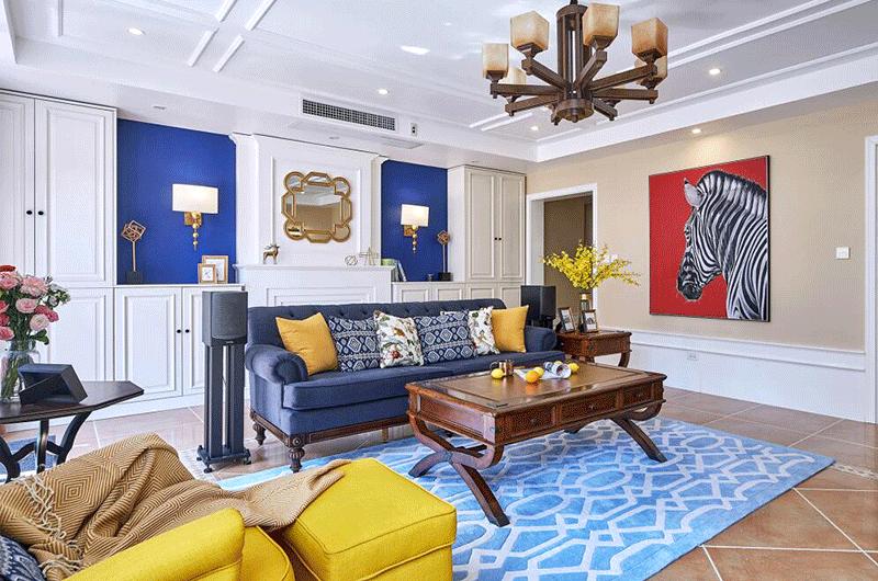 130平美式风格公寓茶几地毯效果图