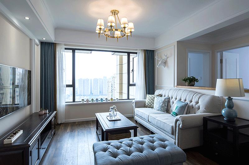 89平美式风格二居客厅效果图