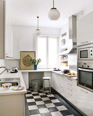 清爽白色厨房装修效果图