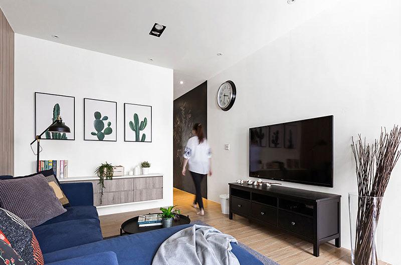 北欧风格复式楼客厅装饰图片