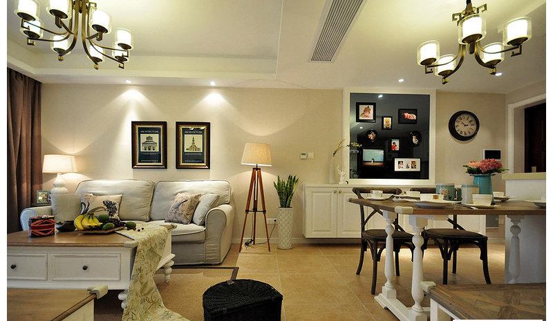 90平米美式三居室装修效果图,美式风格装修案例效果图图片