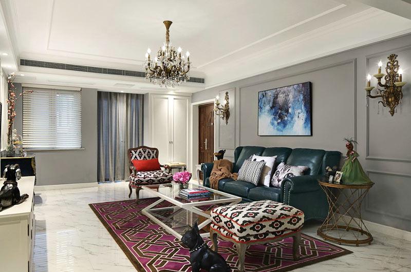 美式风格婚房装修客厅吊灯图片
