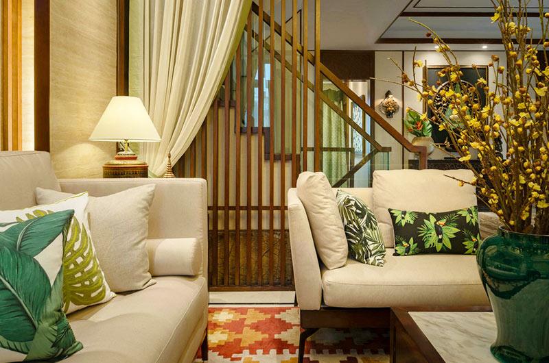 300平东南亚风格别墅布艺沙发图片