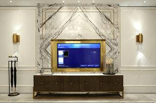 180平简约公寓石材电视背景墙