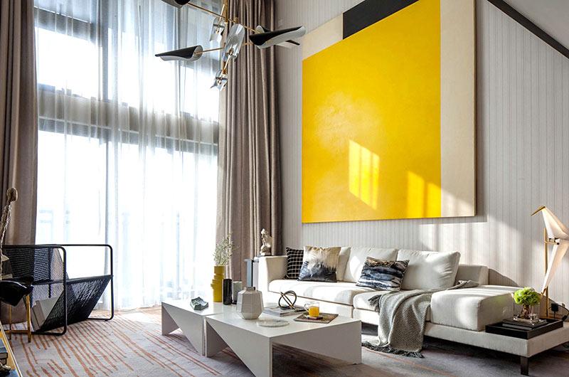 简约风格样板房沙发背景墙装修