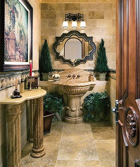 复古风卫生间洗手池装修图