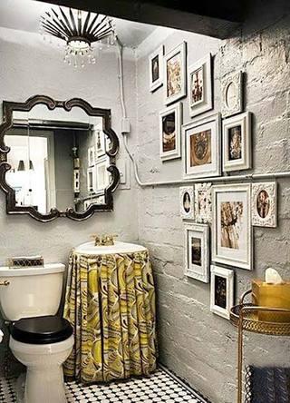 复古风卫生间背景墙装修图片大全