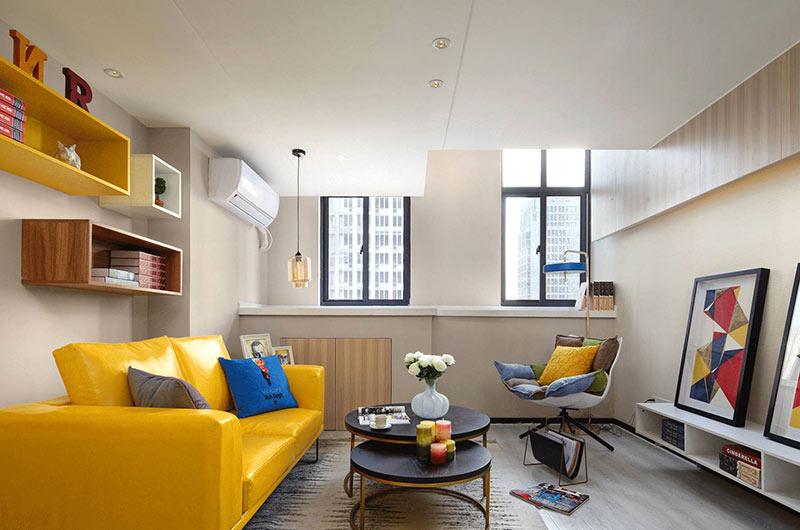 小户型复式楼房装修双人沙发图片