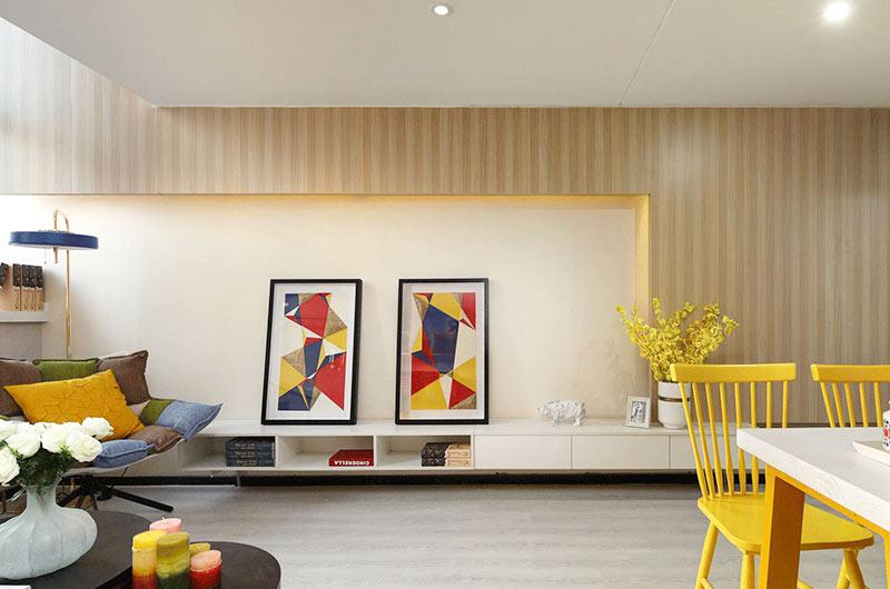 小户型复式楼房装修电视背景墙设计