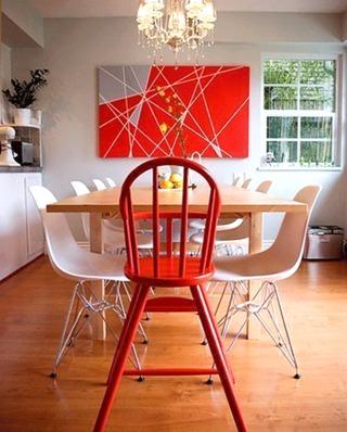 红色餐厅餐椅效果图