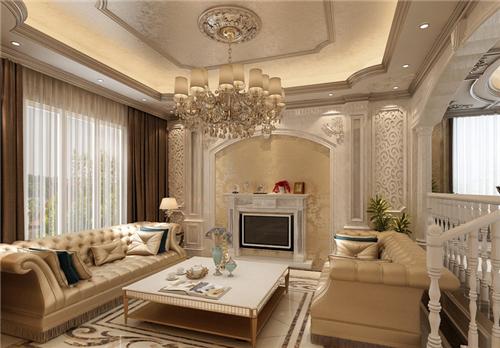 欧式别墅室内装修效果图 30万打造300平简欧别墅