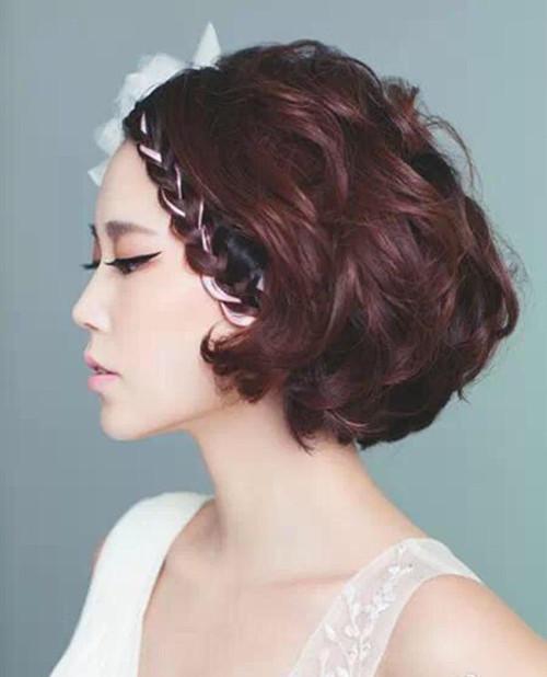 短头发新娘发型怎样更迷人 头发少的新娘适合什么发型图片